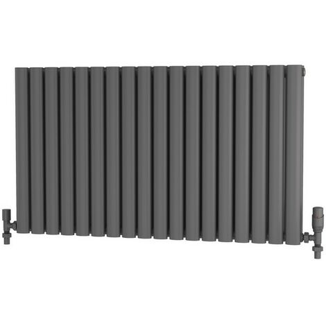 """main image of """"Primus Elliptical Tube Steel Anthracite Horizontal Designer Radiator 600mm x 1050mm Double Panel - Electric Only - Standard"""""""
