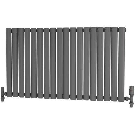 "main image of ""Primus Elliptical Tube Steel Anthracite Horizontal Designer Radiator 600mm x 1050mm Single Panel - Electric Only - Standard"""
