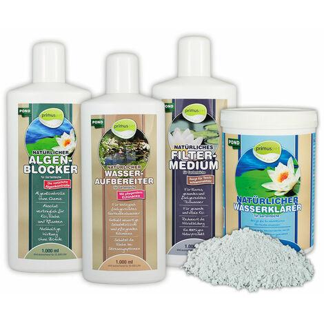 primuspet Natürliches Gartenteich Wasserpflege Sparset (4er Sparset: Wasseraufbereiter, Algen-Blocker, Filtermedium + GRATIS Wasserklärer)