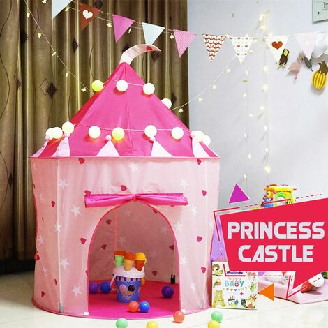 Prince Princess Kid Castle Play Tent Outdoor Indoor Portable Children Baby House (pink, tent)