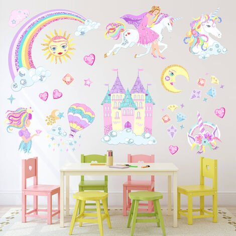 Princess Castle Fairy Unicorn Girl Wall Stickers Kids Bedroom Nursery Room Decor