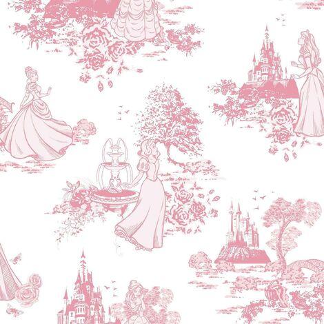 Princess Toile Pink Wallpaper Disney Cinderella Snow White Floral Girls