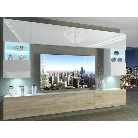 """main image of """"PRINS - Ensemble meubles TV + LED - Unité murale style moderne - Largeur 300 cm - Mur TV à suspendre - Blanc/Sonoma"""""""