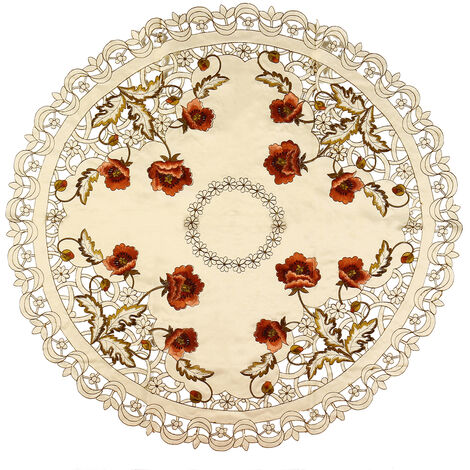 Printed Tablecloth Coffee Table Cloth Doily Satin Cover Round 85cm