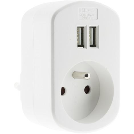 Prise 16A 2P+T + avec 2x ports USB 2,1A - Blanc