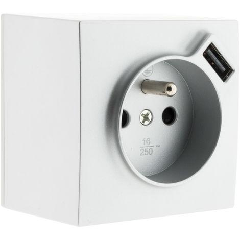 Prise 2 P+T 16A Silver avec prise USB (2,4A*)