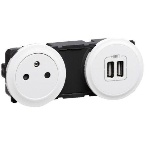 Prise 2 pôles +terre surface 16A + 2 USB Céliane blanc