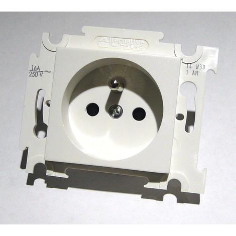 Prise 2P+T 16A blanche 250V encastrée connexion auto fixation vis sans plaque ALTERNATIVE ELEC AE52009