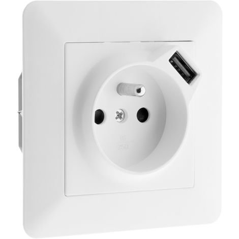 Prise 2P+T 16A équipée d'un port USB (2,4A) Blanc - Artezo