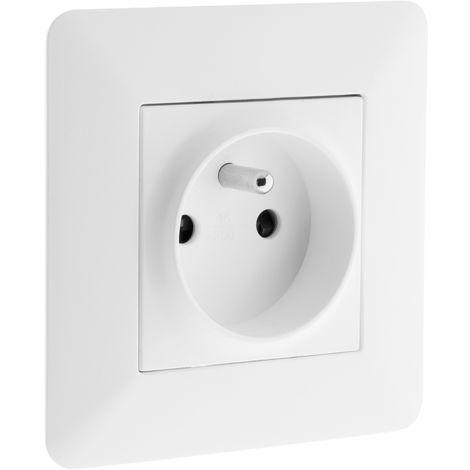 Prise 2P+T 16A simple Blanc - Artezo