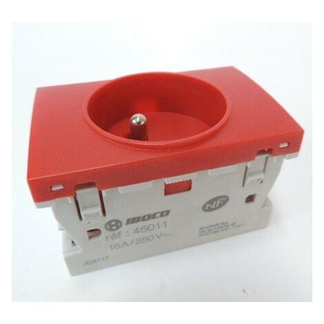 Prise 2P+T 16A simple détrompée rouge RAL3020 format special goulotte appareillage TerCia IBOCO B45011