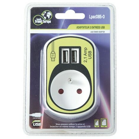PRISE 2P+T + 2 USB POWER BLANC SC
