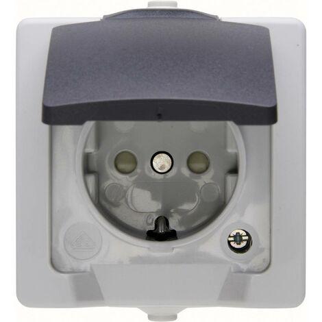 Prise socle 2P+T 16A grise 50X50mm clapet /étanche avec joint connexion bornes auto IP54 EBENOID 011551