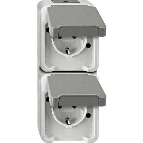 Prise 2P+T avec clapet Schneider Electric 4074951 AQUASTAR gris clair