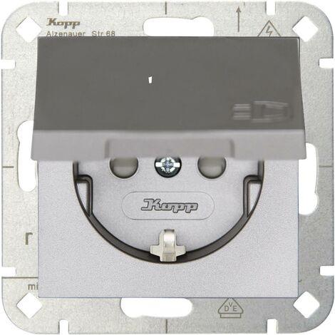 Prise 2P+T avec clapet simple HK 07 Kopp HK07 940147004 Insert acier 1 pc(s)