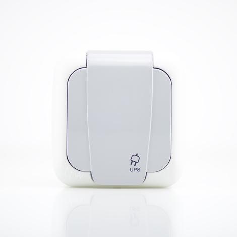 Prise 2P+T étanche IP54 Gris - (appareillage complet) gamme Palmiye