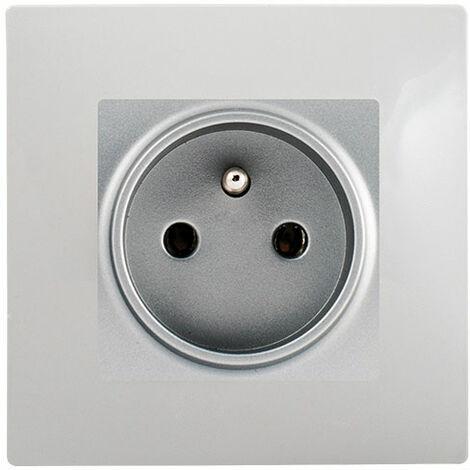 Prise 2P+T Silver Delta Viva + Plaque Gris - SIEMENS