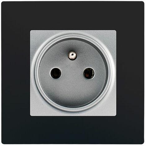 Prise 2P+T Silver Delta Viva + Plaque Noir - SIEMENS
