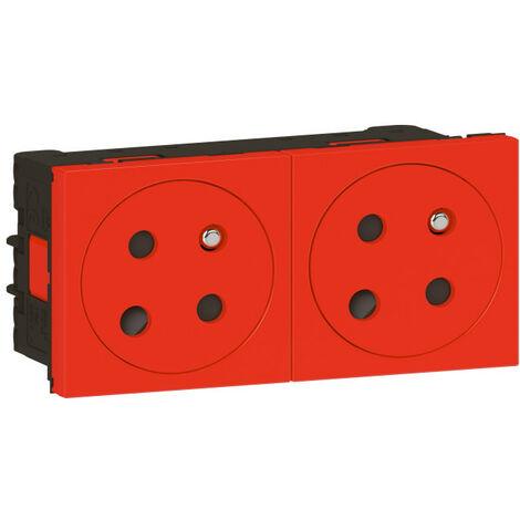 Prise 2x2PT détrompage Surface Mosaic Link à raccordement latéral 4 modules - rouge