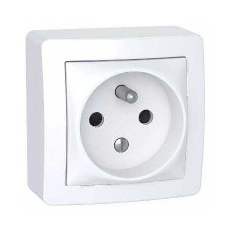 Prise Alréa 2P+T - Complet - Blanc polaire - Schneider Electric