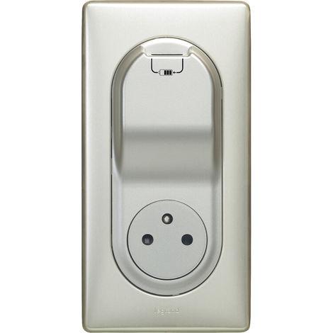Prise Céliane Surface + chargeur USB avec plaque + boite 1 poste - Titane