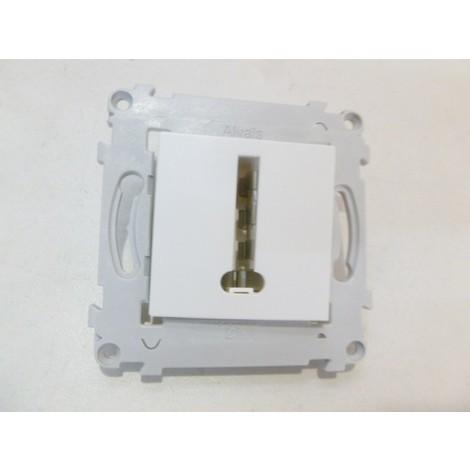 """main image of """"Prise conjoncteur telephone 8 plots en Té blanche sans plaque ALVAIS SCHNEIDER ALB81066"""""""