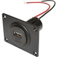 Prise d'alimentation USB encastrable avec plaque de montage ProCar Power USB Einbausteckdose EV mit Montageplatte 67332501 Charge de courant max: 3