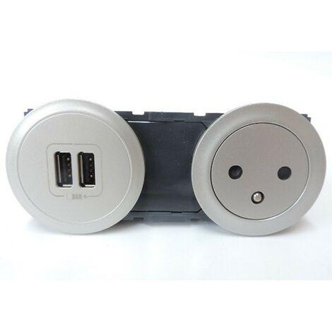 """main image of """"Prise de courant 2P+T 16A + chargeur double USB (5V 3A 15W) avec enjoliveurs titane CELIANE LEGRAND 067106TI"""""""