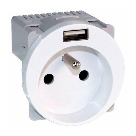 Prise de courant 2P+T 16A et USB 2,1A Comète - 1 poste - Blanc
