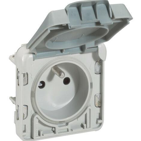 Prise de courant 2P+T à puits franco belge avec volet à ouverture auto Plexo composable IP55 16A 250V gris (069555)