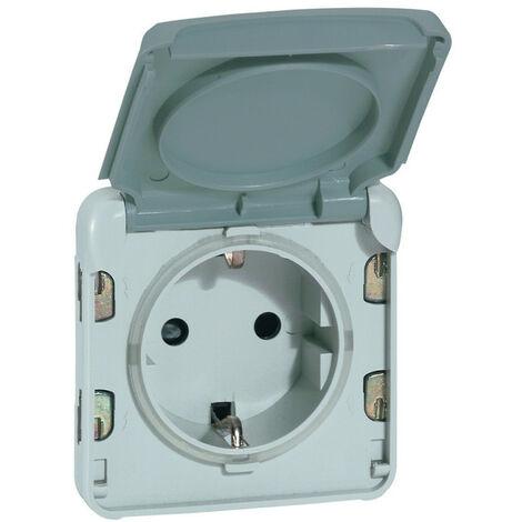 Prise de courant 2P+T avec contact latéral de terre Plexo composable IP55 16A 250V gris (069570)