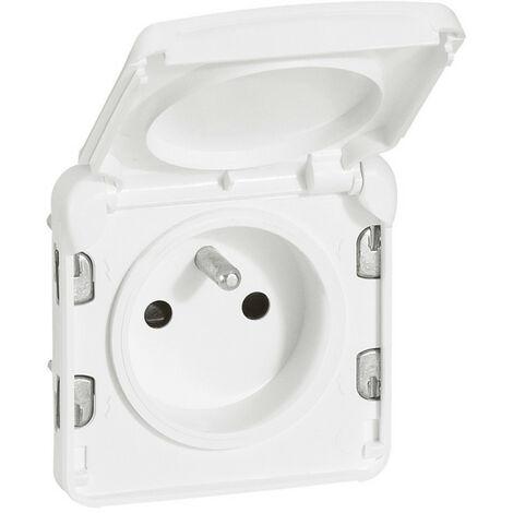 Prise de courant 2P+T avec éclips de protection Plexo composable IP55 16A 250V blanc Artic antimicrobien (070721)