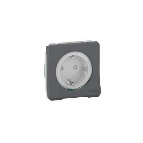 Prise de courant 2P+T IP55 IK08 connex auto - Schuko - Composable - Gris - Mureva Styl