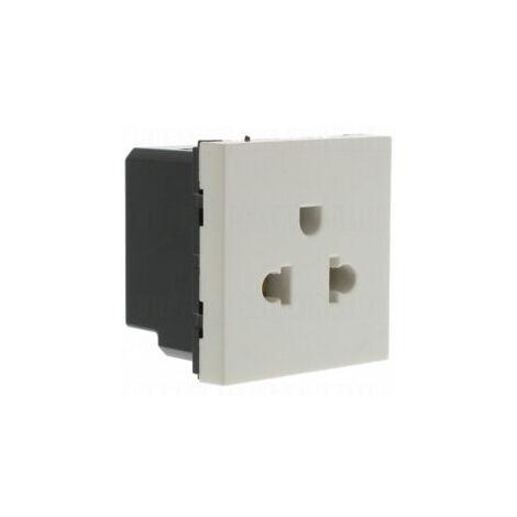 Prise de courant 2P+T standard euro-US 2 modules - Mosaic - Blanc - 077502 - Legrand