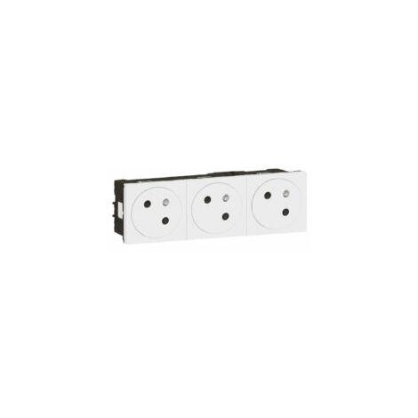 Prise de courant 3 X 2P+T surface Mosaic Link - 6 modules - 3 postes - Blanc - Legrand