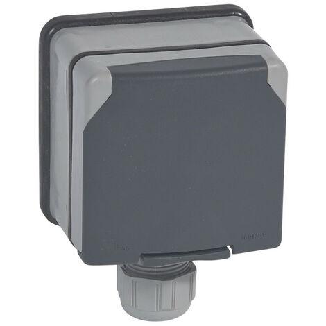 Prise de courant 3P+T avec éclips de protection Plexo IP66 complet 20A 400V~ gris (090456)