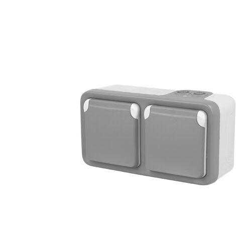 """main image of """"Prise de courant double horizontal 16A 2P+T Legrand Plexo™ grise complète"""""""