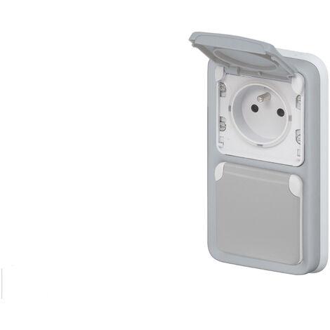 """main image of """"Prise de courant double vertical 16A 2P+T Legrand Plexo™ grise encastrée"""""""