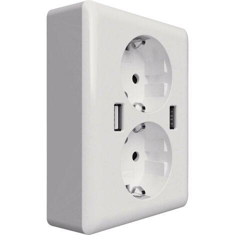 Prise de courant encastrable 2USB 2U-449238 x2 avec USB IP20 blanc 1 pc(s)