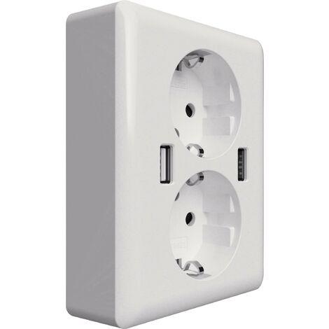 Prise de courant encastrable 2USB 2U-449238 x2 avec USB IP20 blanc 1 pc(s) X055581