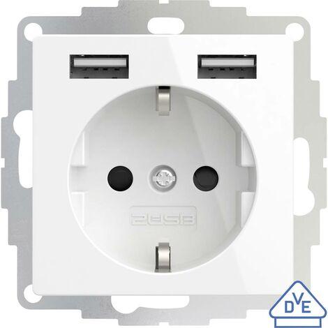 Prise de courant encastrable 2USB 2U-449276 norme VDE, avec USB, sécurité enfants IP20 blanc pur, effet brillant 1 pc(s)