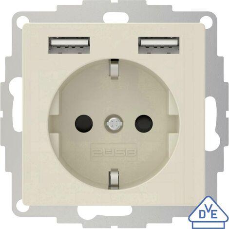 Prise de courant encastrable 2USB 2U-449290 norme VDE, avec USB, sécurité enfants IP20 blanc crème, effet brillant 1 pc(s)