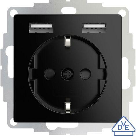 Prise de courant encastrable 2USB 2U-449313 norme VDE, avec USB, sécurité enfants IP20 noir 1 pc(s)