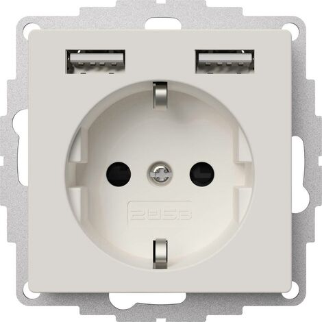 Prise de courant encastrable 2USB 2U-449337 norme VDE, avec USB, sécurité enfants IP20 blanc pur, mat 1 pc(s)