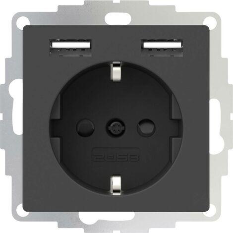 Prise de courant encastrable 2USB 2U-449351 norme VDE, avec USB, sécurité enfants IP20 anthracite 1 pc(s)