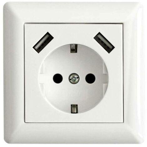 Prise de courant encastrable LEDmaxx USB1001 106648 simple avec USB, sécurité enfants blanc 1 pc(s)