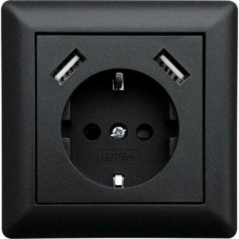 Prise de courant encastrable LEDmaxx USB1002 simple avec USB, sécurité enfants noir 1 pc(s)