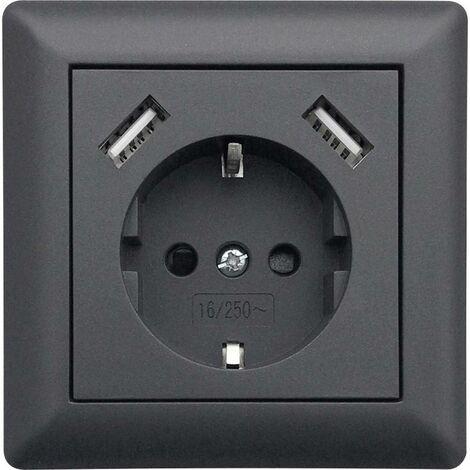 Prise de courant encastrable LEDmaxx USB1003 simple avec USB, sécurité enfants anthracite 1 pc(s)