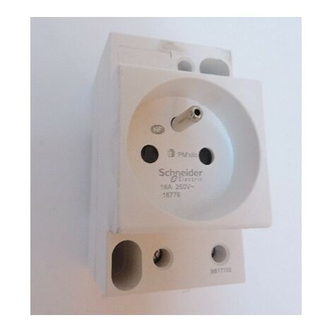 Prise de courant modulaire 2P+T 16A pour montage sur rail Din DUOLINE PC'CLIC SCHNEIDER ELECTRIC 16776