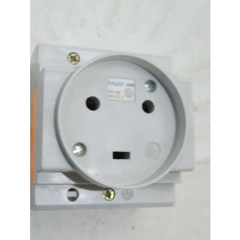 Prise de courant modulaire 2P+T 20A FR pour pose sur rail DIN HAGER SN120